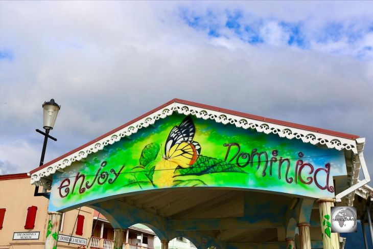 The welcome sign at Roseau Port, Dominica.