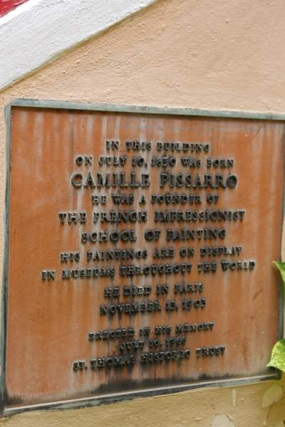Entrance to the Camille Pissarro Gallery in Charlotte Amalie.