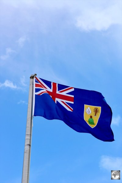 The flag of TCI flying on Provo Island.