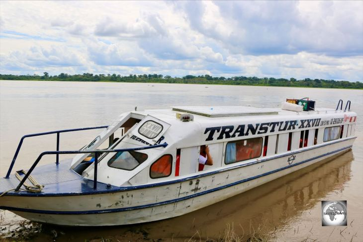 Transtur, my Peruvian fast boat, which carried me 370 km, in 10 hours, between Iquitos and the Peruvian village of Santa Rosa, which lies across the Amazon river from Leticia, Colombia.