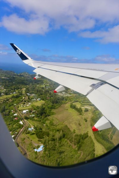 Departing Norfolk Island on Air New Zealand.