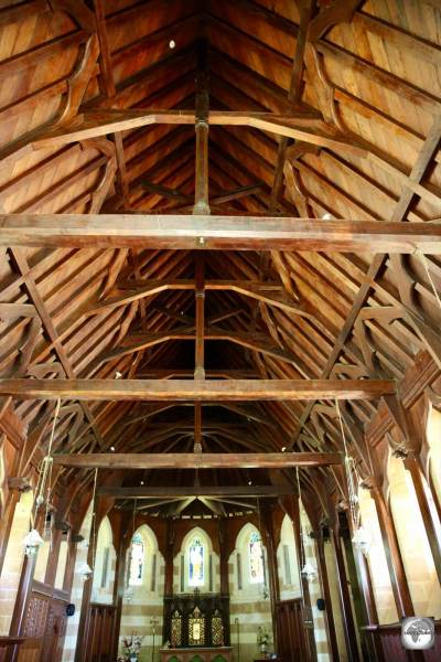 The wooden ceiling of St Barnabas Chapel was built to resemble the upturned hull of a boat.