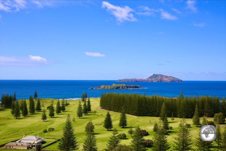 A view of Philip Island (background) and Nepean Island (middle) from Norfolk Island.