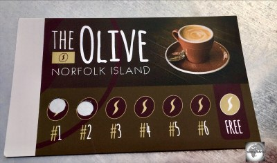 The coffee loyalty card at The Olive cafe.