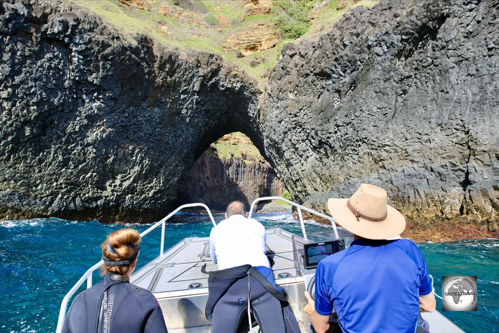 We passed through this impressive volcanic archway on the way to one of our dives sites.