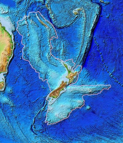 The mostly submerged micro-continent of Zealandia.
