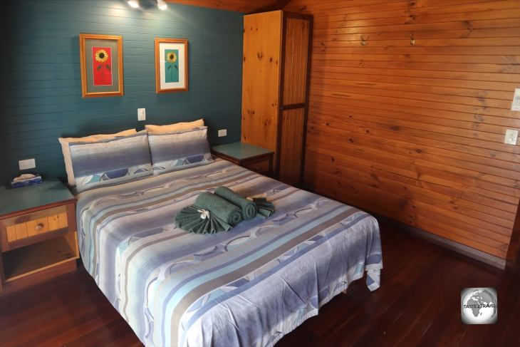 My comfortable room at Cocos Village Bungalows on West Island.