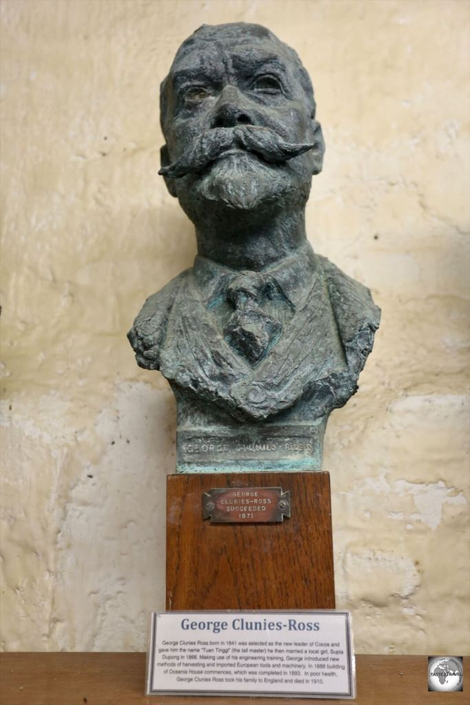 A bust of George Clunies-Ross at the Cocos Museum on Home Island.