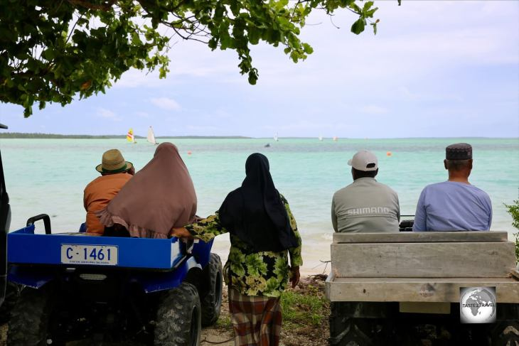 Spectators watching a Jukong sailing race on Home Island, Cocos (Keeling) Islands.