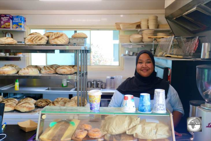 The smiling Barista at Salty's Grill and Bakery on West Island.