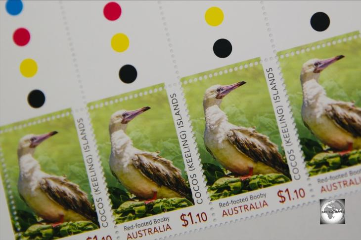 The Red-Footed Booby stamp, one of the newer stamp issues from Cocos (Keeling) Islands.