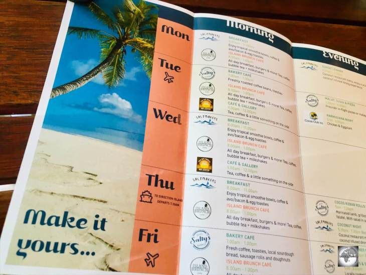 The Cocos (Keeling) Islands 'Weekly Dining Guide' is an indispensable restaurant guide for visitors.