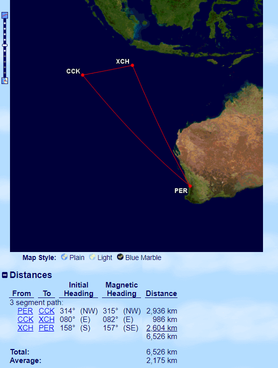 Virgin Australia operates the only flights to the Indian Ocean Territories from Perth. Source: http://www.gcmap.com/
