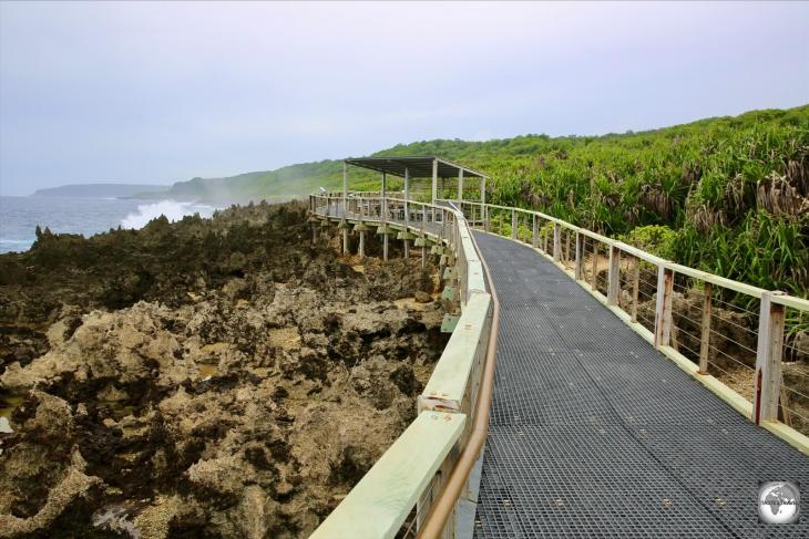 An excellent boardwalk at the blowholes allows visitors to pass over the razor-sharp limestone foreshore.