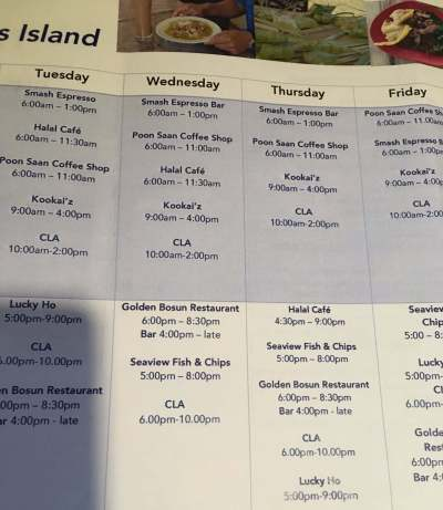 The very useful, Christmas Island dining guide, which is issued by the Christmas Island Visitor Centre