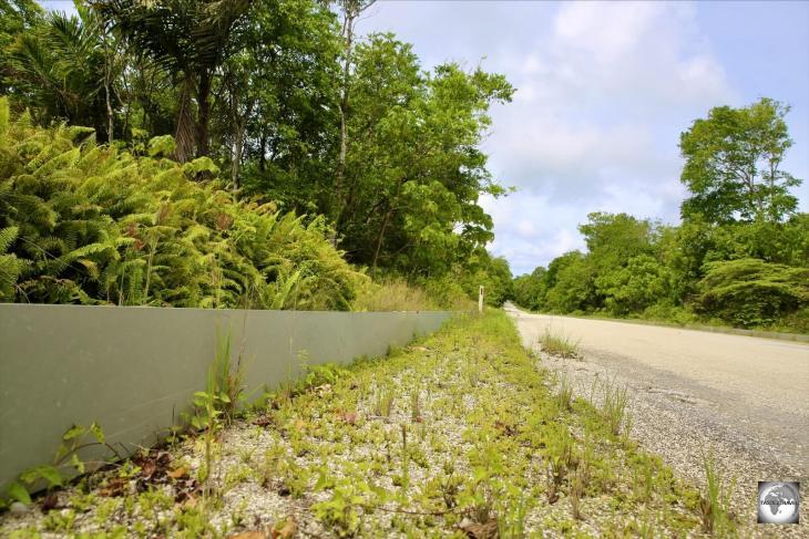 A roadside crab barrier inside Christmas Island National Park.