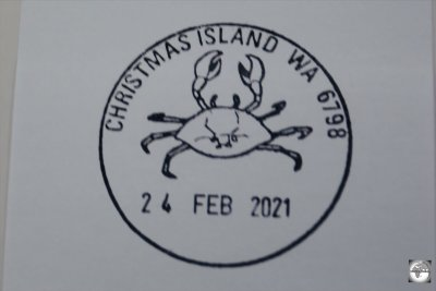 Available from the post office, the Christmas Island 'Crab' postmark makes for an amusing souvenir passport stamp.