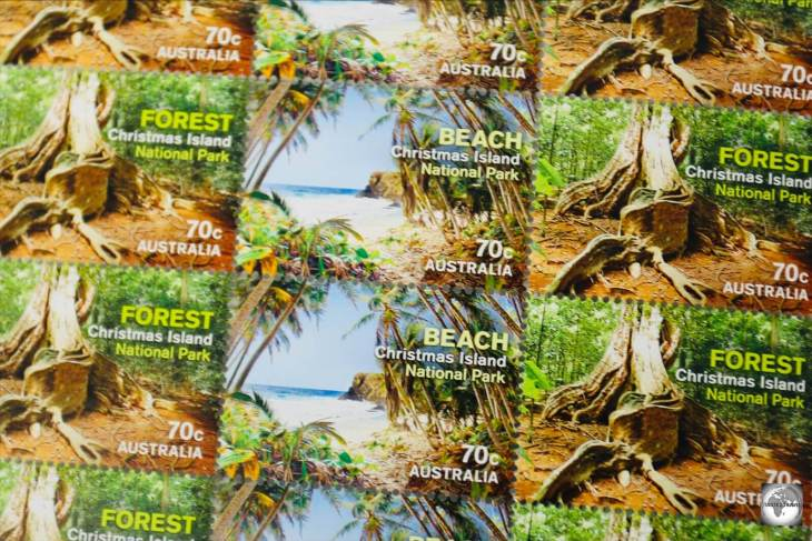 Christmas Island stamps featuring views from the National Park.