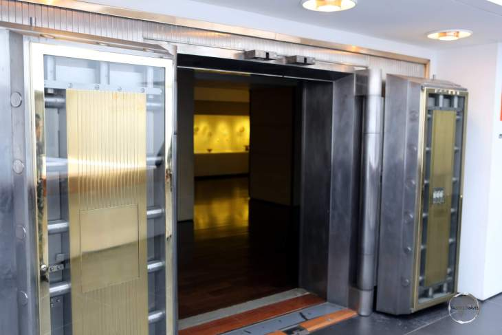 The impressive vault doors which lead to the exhibition rooms of Bogota's 'Museo del Oro', which has a collection of 55,000 golden relics, 6,000 of which are on display.