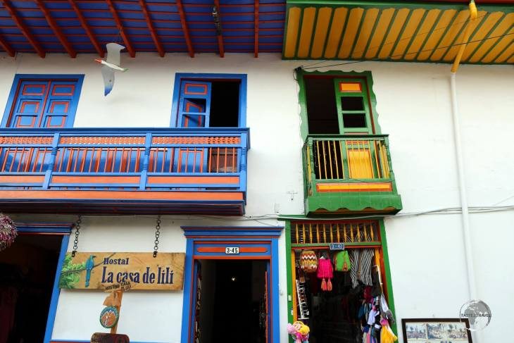 Colourful shops line Calle Real (Royal street), the main street of Salento, which lies in the heart of Colombia's coffee-producing region ,known as the 'Zona Cafeteria'.