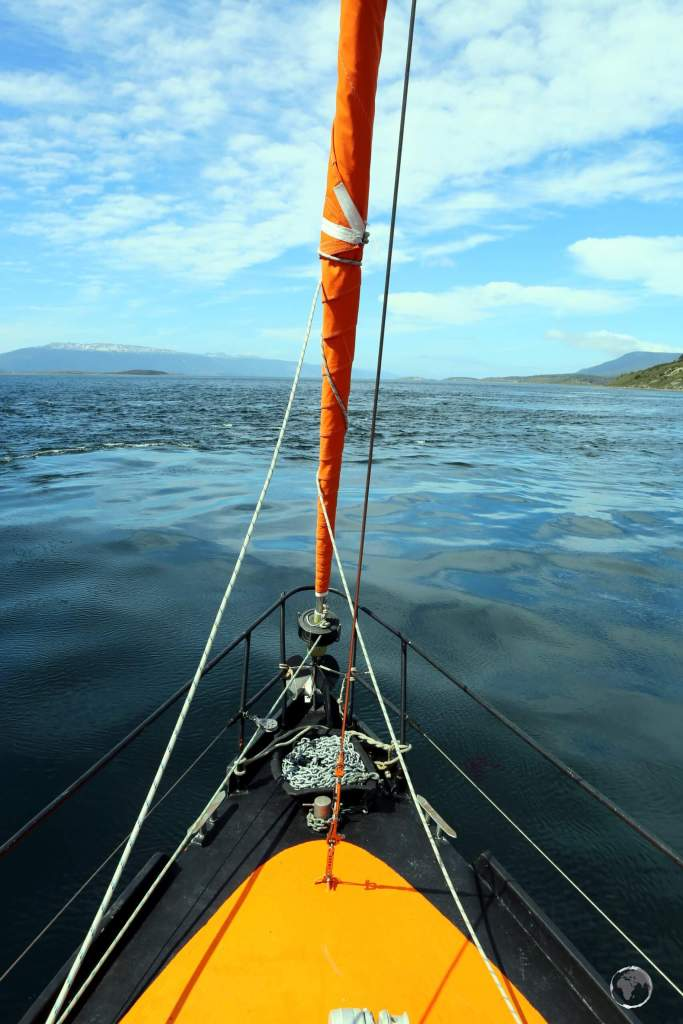 Cruising through the Beagle channel, a calm, narrow strait at the bottom of Tierra del Fuego which connects Ushuaia to the open ocean and the roaring Drake passage.
