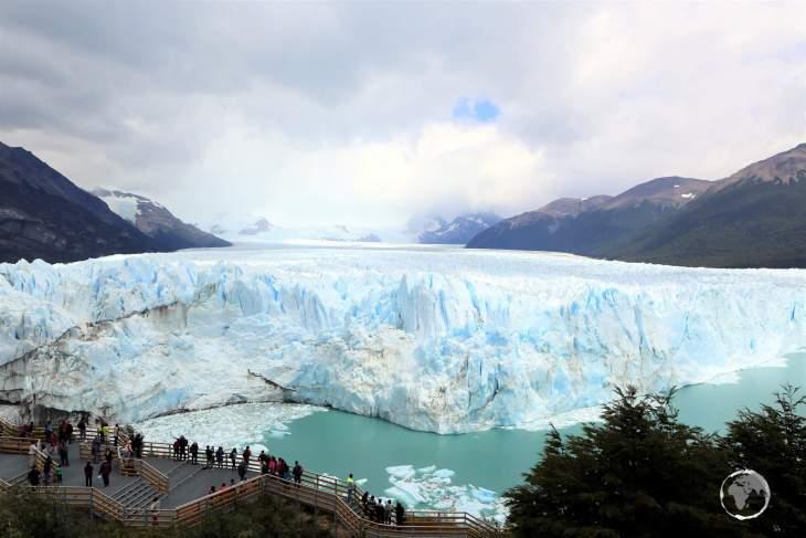 Panorama of the north part of the Perito Moreno Glacier in the Los Glaciares National Park, Argentina.
