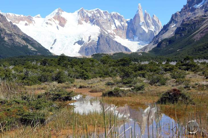 A panorama of Monte Fitz Roy in the Los Glaciares National Park, near the Patagonian town of El Chaltén, Argentina.
