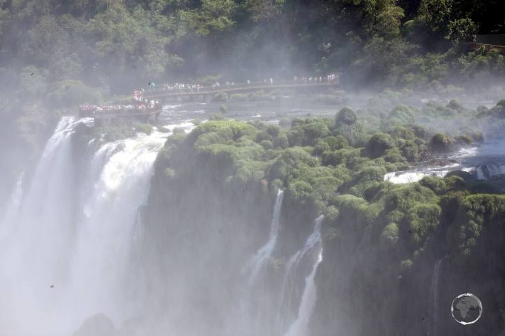 A view from the Argentine side, across to the Brazilian side, of Iguazú Falls.