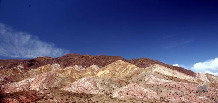 Different minerals in the soils around the city of Salta create colourful bands across the countryside.