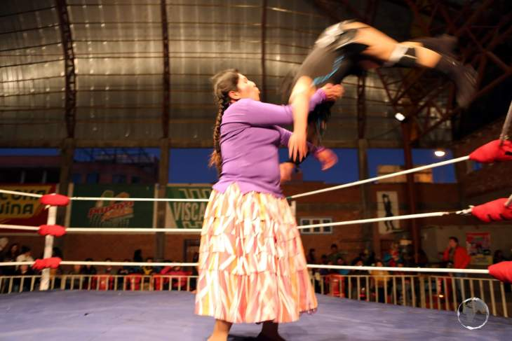 Despite their plump physiques, the Cholitas are very athletic in the ring, performing suplexes, body slams and high-flying acrobatic manoeuvres.