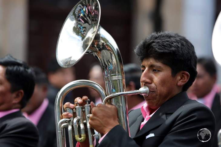 Music is an integral part of the 'Fiesta de la Virgen de Guadalupe', which is provided by numerous marching bands, whose members are always formally dressed.