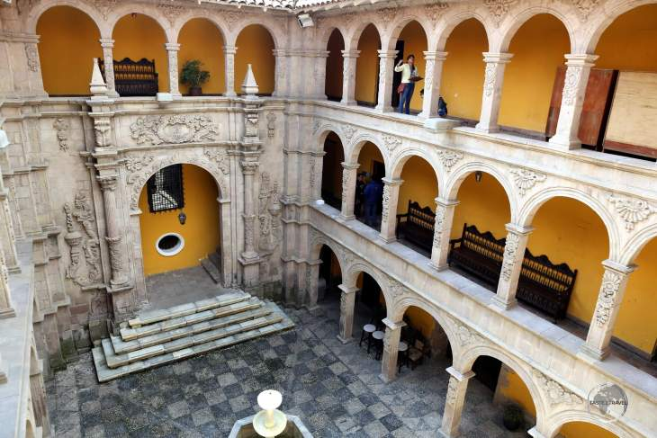 The courtyard of the 'Museo Nacional de Arte' (National Museum of Art), which is housed in the Palacio Diez de Medina in La Paz, Bolivia.
