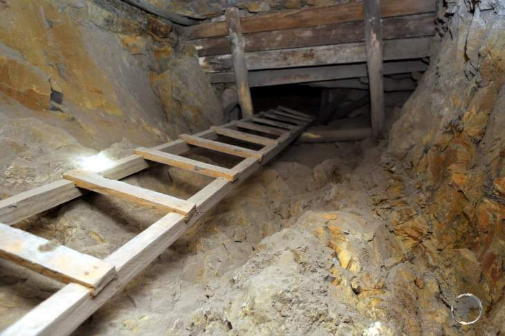We descended to deeper levels of the mine via these wooden ladders. The deeper you went, the tighter the space. Not a place for claustrophobics!