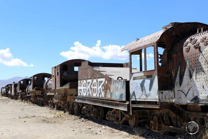 The British-made locomotives were originally imported as part of a large infrastructure project which was abandoned due to tensions with neighbouring Chile, through which the rail line passes.
