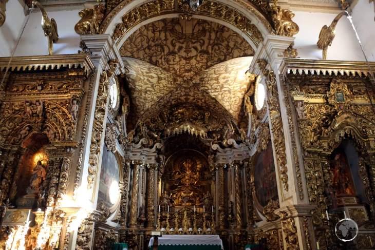 An interior view of the Matriz de Santo Antonio Church, a highlight of the historic town of Tiradentes, Minas Gerais state.