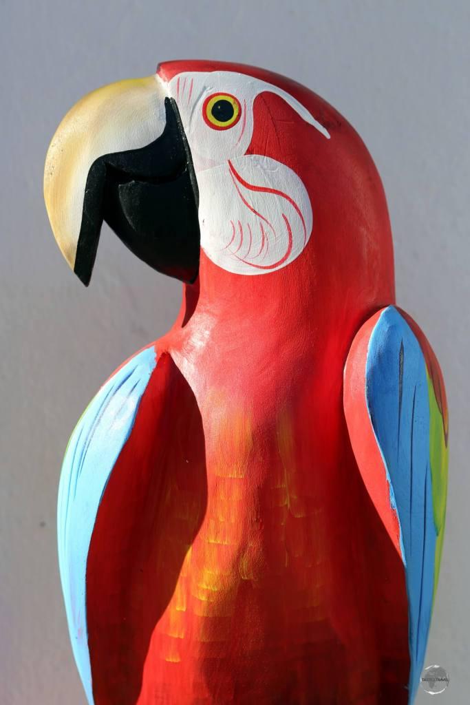 A colourful Scarlet macaw souvenir in Tiradentes, Minas Gerais state.