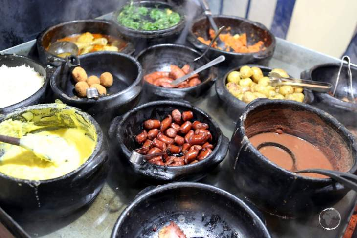 Traditional 'Minera' cuisine buffet, served at a restaurant in the historic town of Tiradentes, Minas Gerais state.