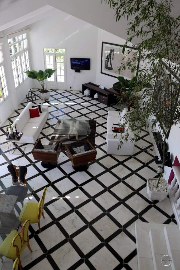The spacious and stylish living room of my guest house in Rio de Janeiro.