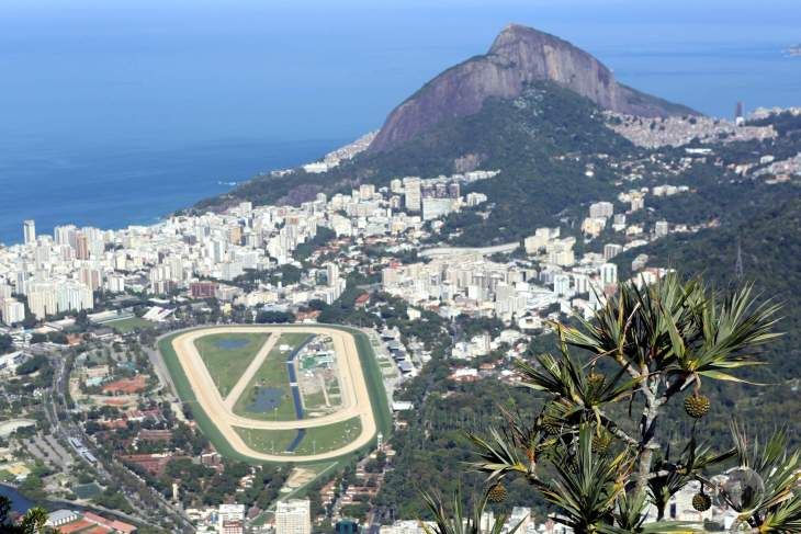 A panoramic view of the Rio beachside neighbourhood of Leblon and the Rio Jockey Club horse racing track from Corcovado mountain.