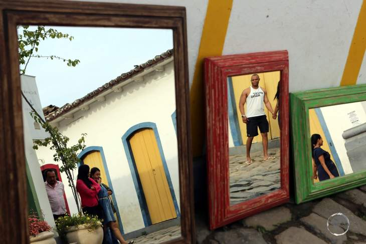 A different type of reflection photo in downtown Paraty.