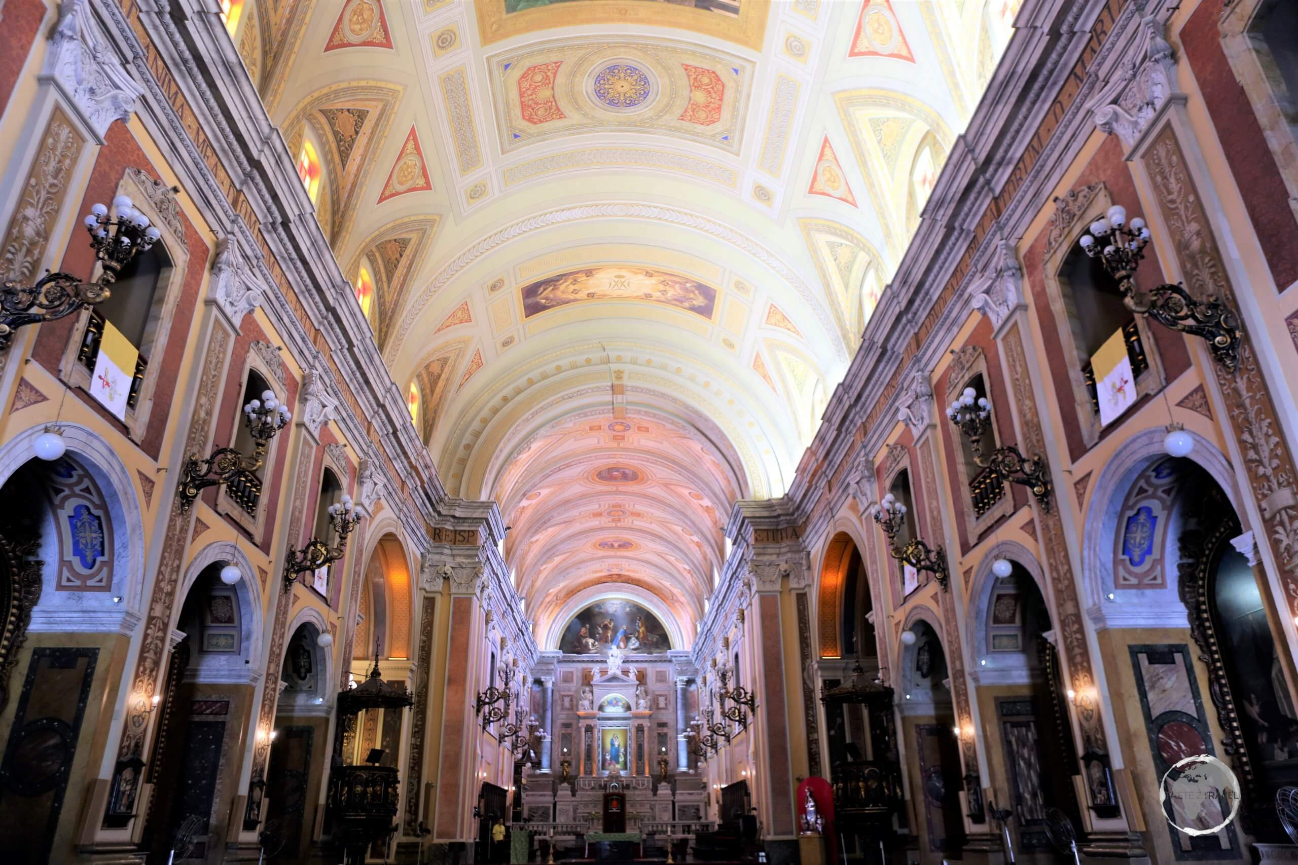 The interior of Our Lady of Grace Cathedral (also called Belém Cathedral), which is located in the old quarter of the city in Belém in Brazil.