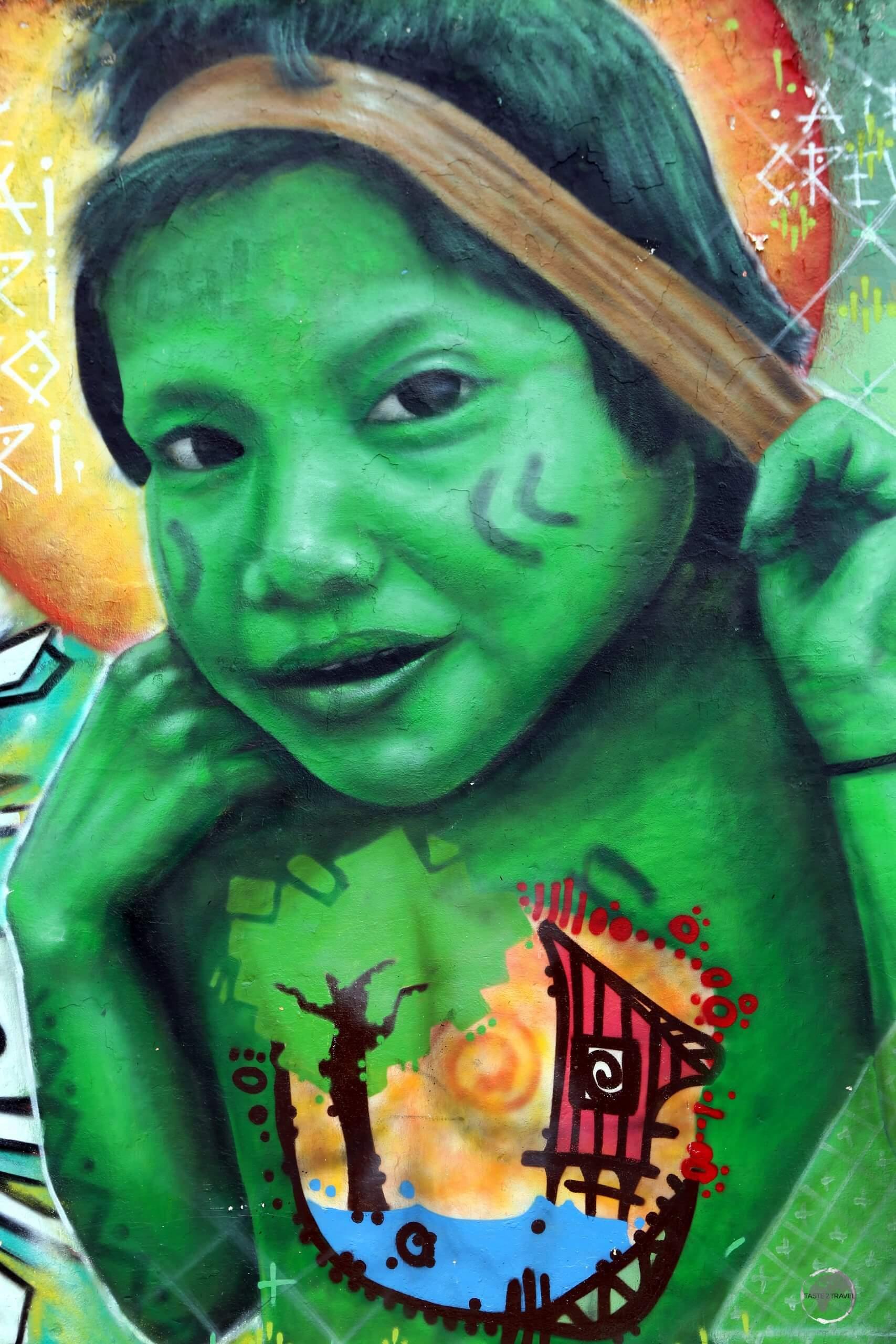 Street art in Manaus, the capital of the vast state of Amazonas, Brazil.