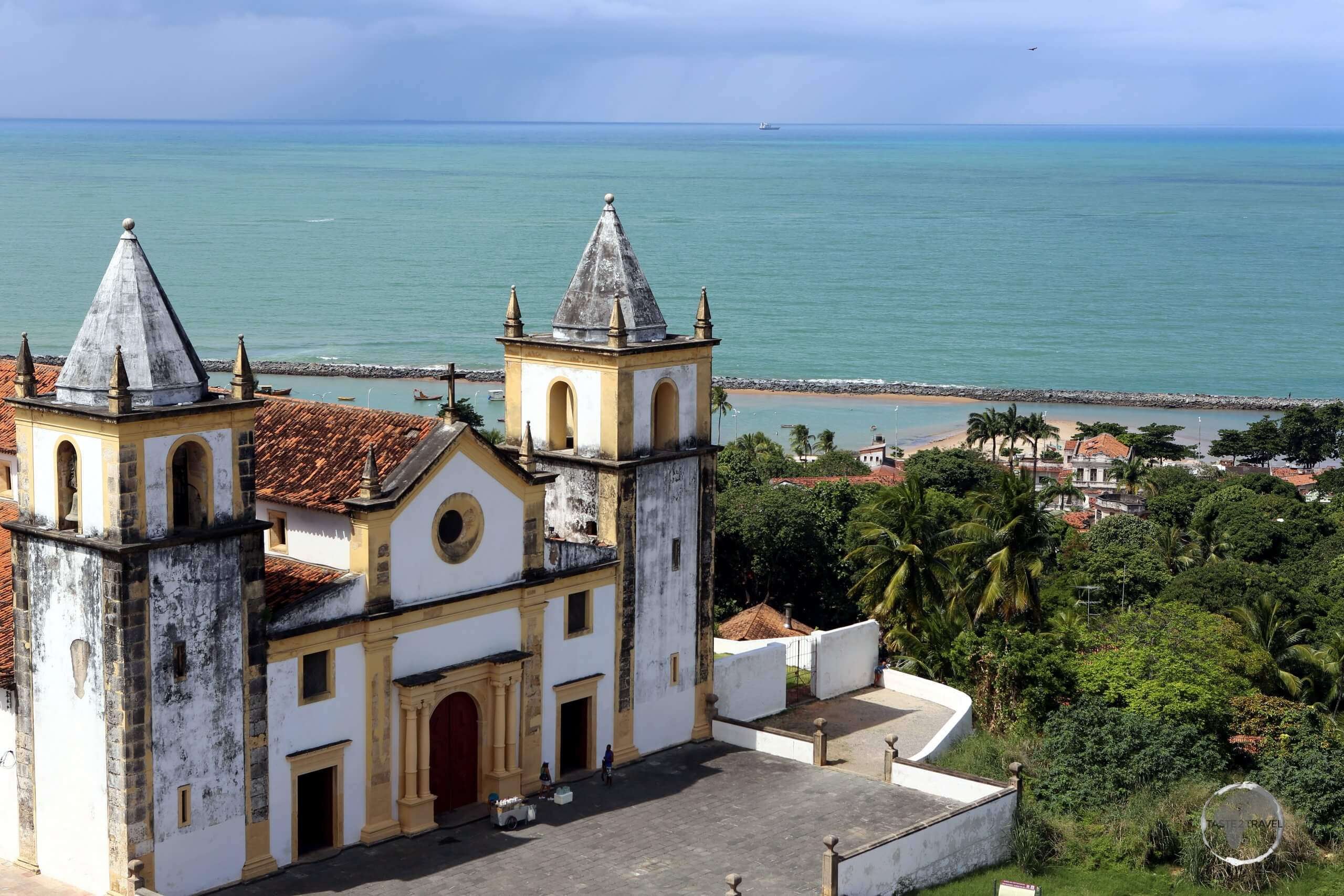 Panoramic view of the Cathedral Alto da Se, the main cathedral in the historic town of Olinda, Pernambuco, Brazil.