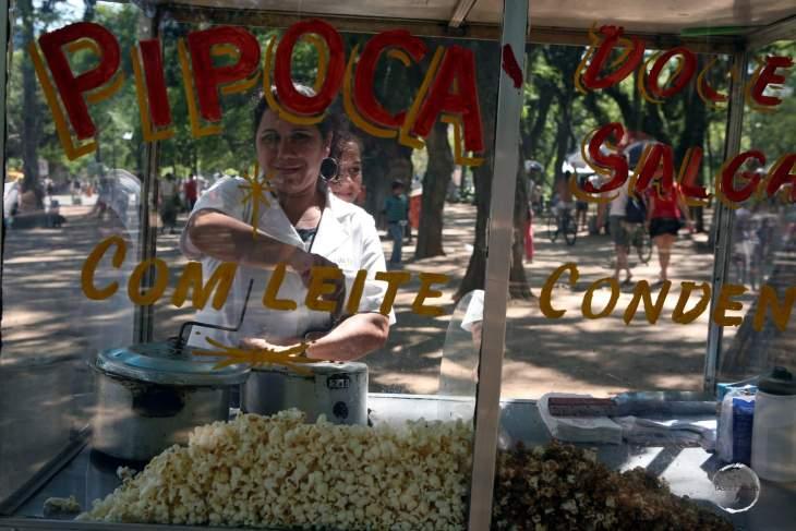 A popcorn vendor in downtown Porto Alegre, the capital of Rio Grande do Sul, the most southerly state of Brazil.
