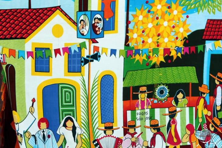 Colourful art work in Olinda, an historic town in Pernambuco state, Brazil.