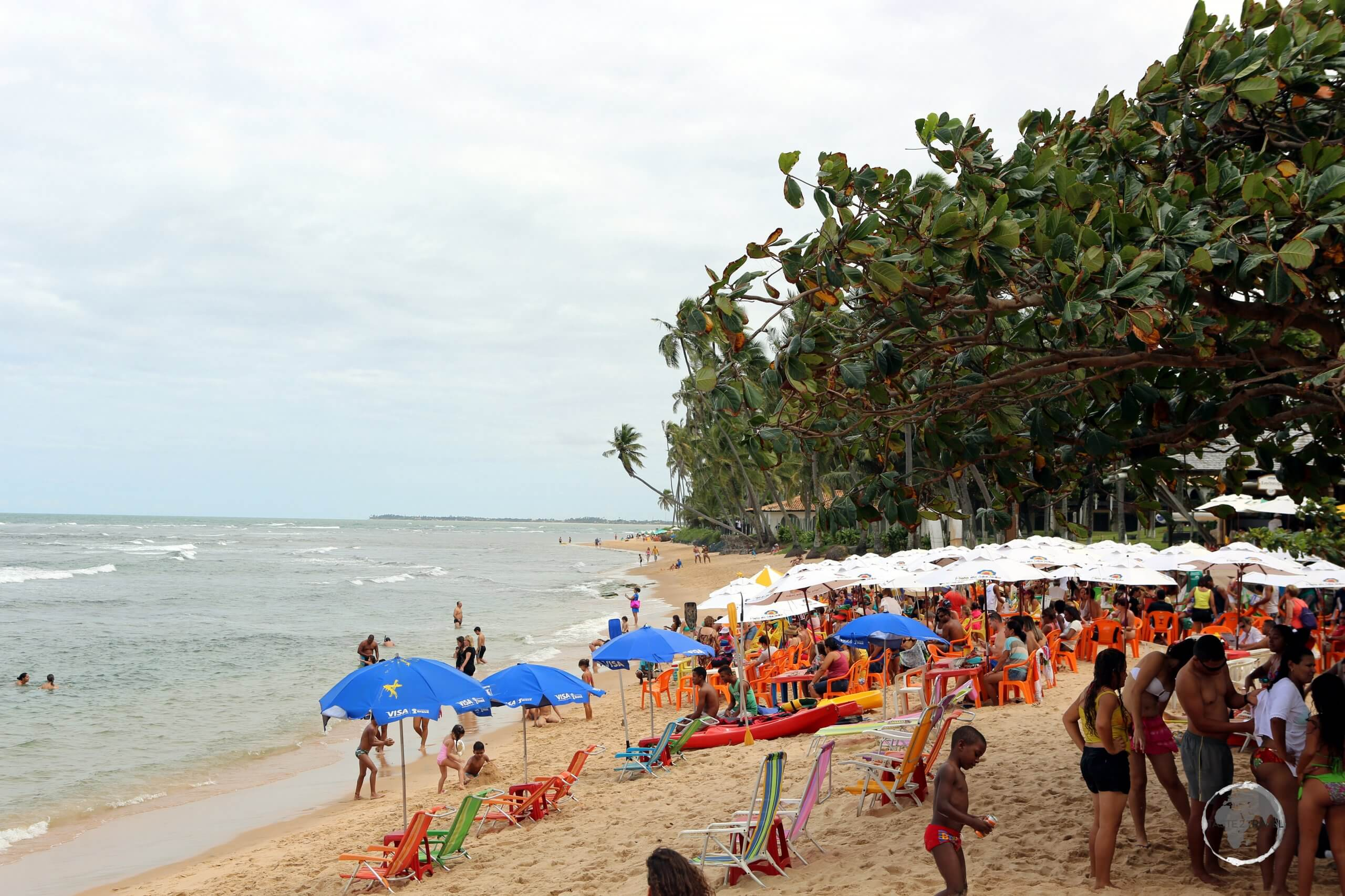 Praia do Forte is a long beach with a small village 80 km away from the city of Salvador de Bahia, located in north-eastern Brazil and facing the Atlantic Ocean.