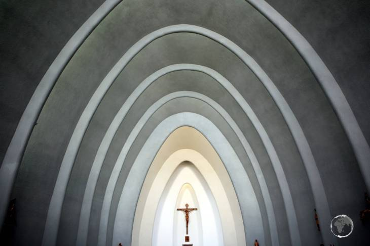 The austere interior of the modernist Saint Charles Borromeo Cathedral, a highlight of the city of Chillán.