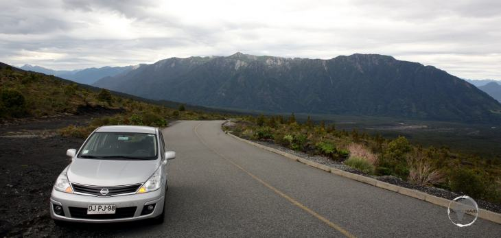 The road, which climbs up the slope of Osorno volcano, to a lookout which offers a panoramic view of Lake Llanquihue.