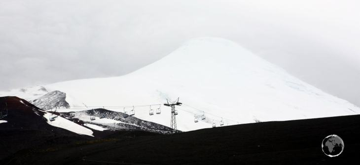 A ski lift offers access to the higher slopes of Osorno volcano in southern Chile.