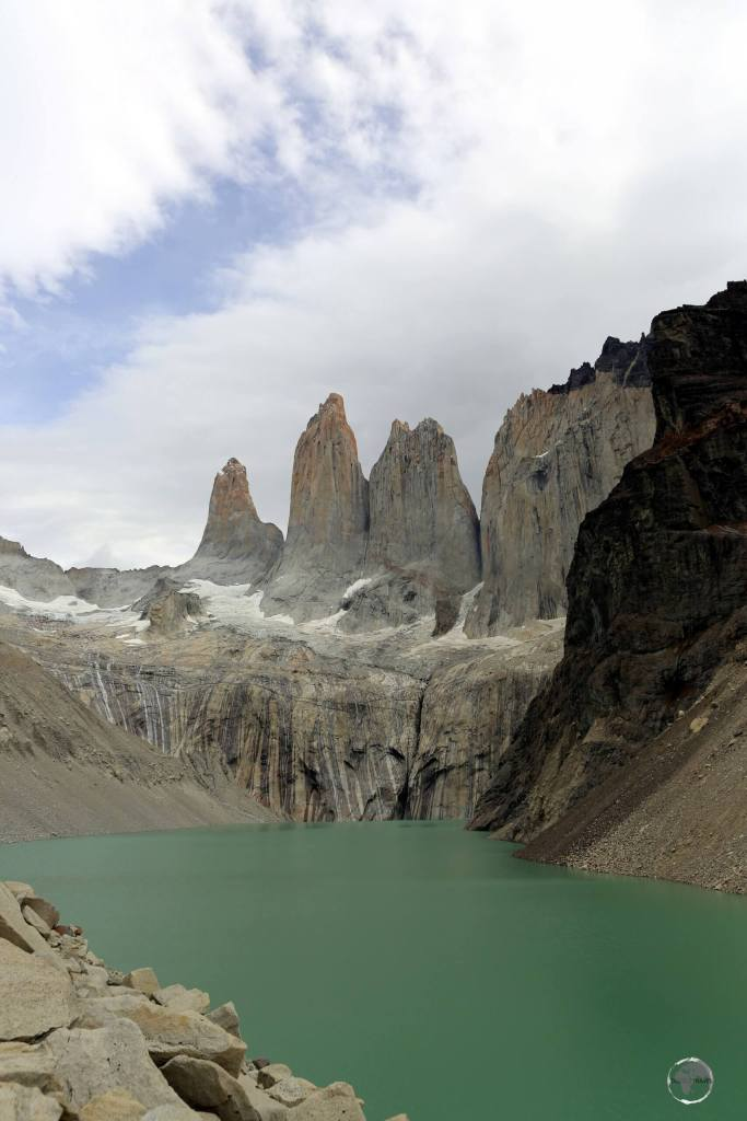 A view of the three, soaring, granite 'Torres del Paine' (Towers of Paine), which are, from left to right - Torres d'Agostini, Torres Central and Torres Monzino.
